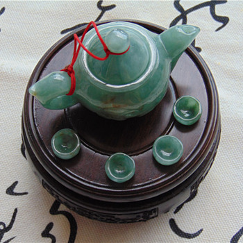 natural burma jade A tet set teapot art craft - Asian