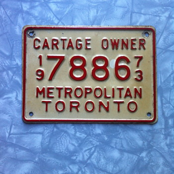 Cartage plate from 1973. - Signs