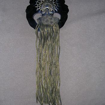 Vintage Carved Bakelite Hair piece with multiple gold braids