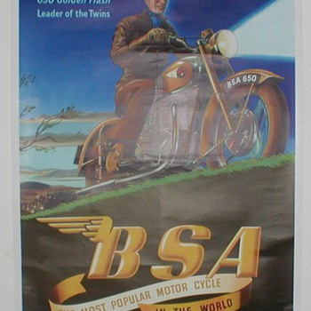 B.S.A. 650 Golden Flash Motorcycle Poster - Advertising