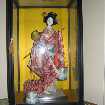 Japanese Geisha Doll w/ water buckets - Dolls