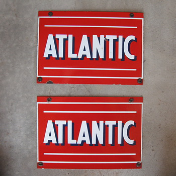 Atlantic Porcelain Pump signs - Petroliana