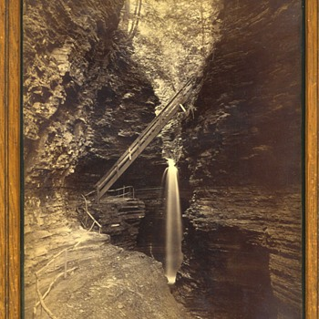8x10 Old Canyon Gutch Water Fall Wis. Dells? H.H.Bennett? 