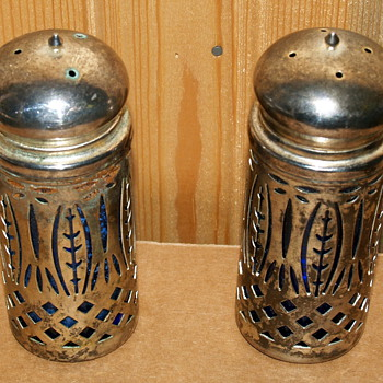 Metal encased Blue glass salt and pepper shakers
