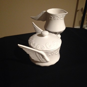 White Stoneware Creamer/Sugar with Wing Shaped Handles