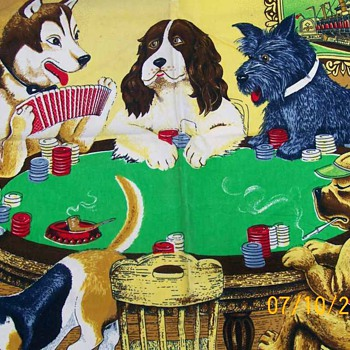 Vintage Dogs Playing Cards on Velvet Print ! Man Cave ? Woman Cave ? - Tobacciana