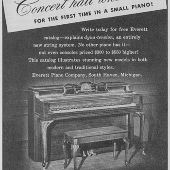 1950 Everett Pianos Advertisements - Advertising