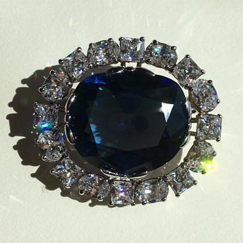 Simulated Hope Diamond Brooch