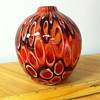 Multi Colored Pulled Feather Glass blown Cabinet Vase