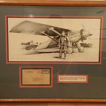 Lindbergh Drawing & letter carried on Spirit of St. Louis Plane