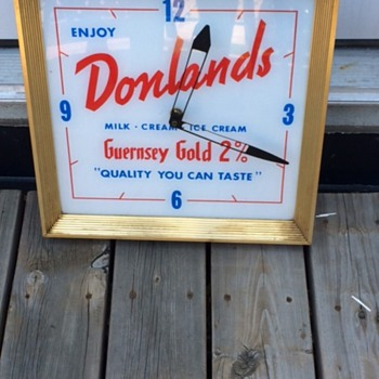 VINTAGE DONLANDS DAIRY ADVERTISING SIGN & CLOCK