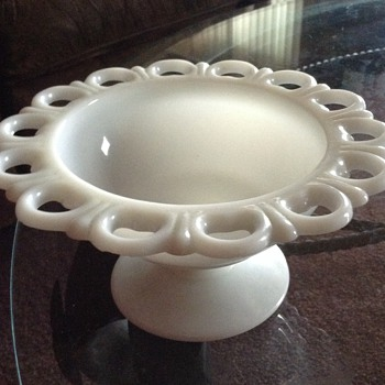 Antique Milk Glass Scalloped Edge Pedestal