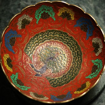Enamel Brass Bowl from India - with Peacocks! - Asian
