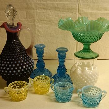 FENTON PLUM DECANTER + MORE HOBNAIL PIECES - Glassware