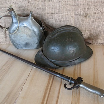 World War One French Model 1915 Adrian Helmet & Bayonet