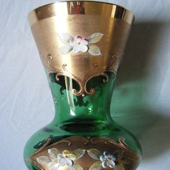 GREEN GLASS Bohemian  Green Glass Gold Gilded w/Floral Enamel