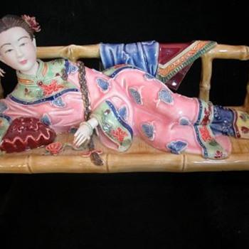 ORIENTAL LADY ON BAMBOO SOFA - Asian