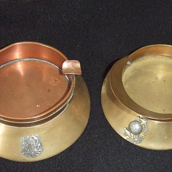 Trench art hat ashtrays