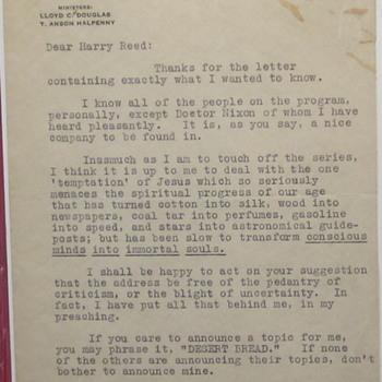 Autographed Letter, Writer Llpyd C. Douglas