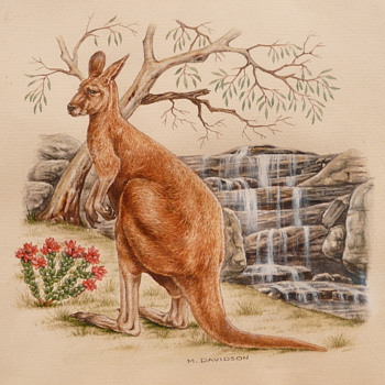 KANGAROO AT WATERFALL - M. DAVIDSON