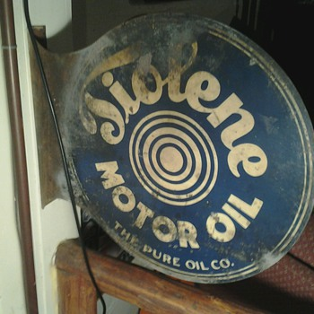 Early Tiolene Motor Oil Flange Sign - Petroliana