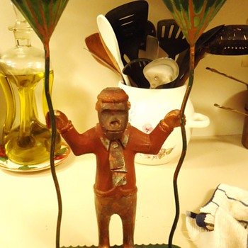 Copper Monkey holding candles, All is 100% copper and painted?