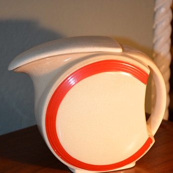 Super fun cream and red pitcher but what era??? - Art Deco
