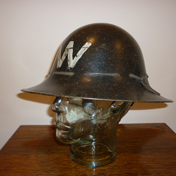 British WWII Civil Defence Wardens steel helmet