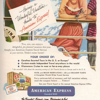1952 - American Express Traveler&#039;s Cheques Advertisement - Advertising