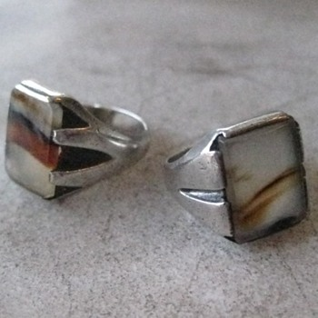 Agate men's silver rings