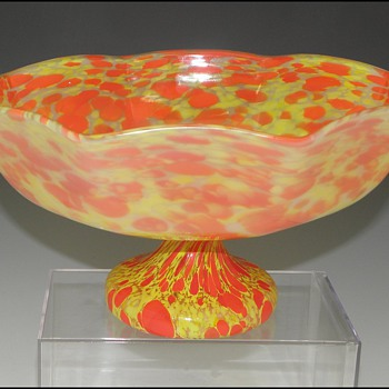 Czech Spatter Glass Bowl with Unusual Surface Treatment