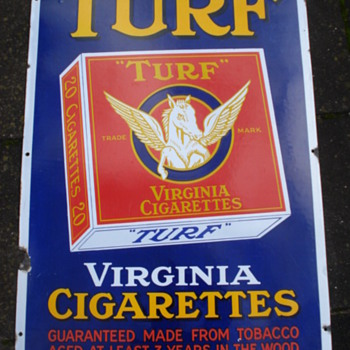 old original porcelain,enamel sign turf virginia cigarettes