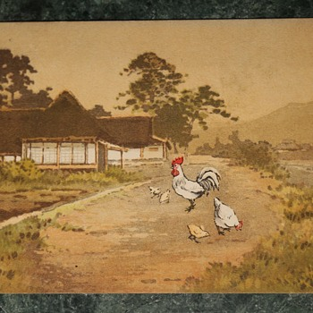 1910 Postcard from Japan with a Rooster, Chicken and Chicks