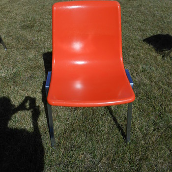 Heywood Wakefield Orange Fiberglass and Chrome Stacking Chair