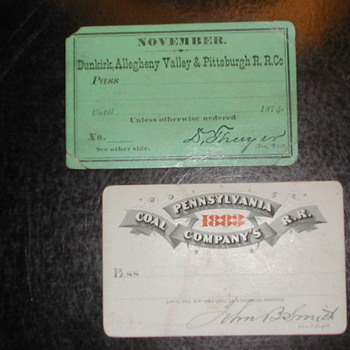 19th Century Railroad Passes - Railroadiana