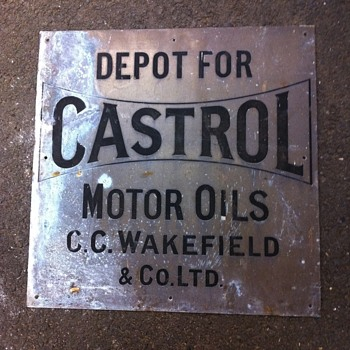 Handsome brass Castrol oil sign - Petroliana