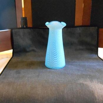 Delicate Blue Nailsea Bud Vase - Art Glass