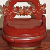 Antique Chinese Red Wedding Wood Basket