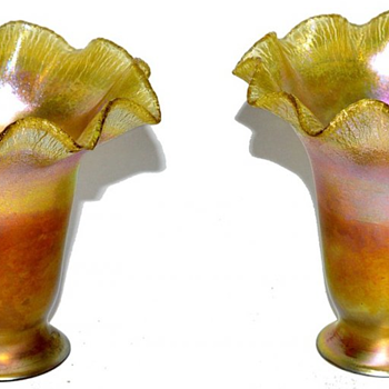 Quezal Gold Iridescent shades - Art Glass