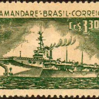 "1958 - Brazil - ""Aircraft Carrier"" Postage Stamp"