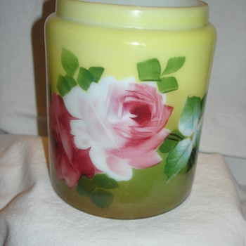HAND PAINTED VASE OR JAR NOT SURE - Art Glass