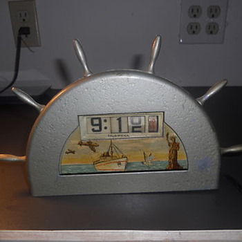 1945-50 Art Deco Nautical-themed Desktop Clock  by Tele-Vision (Pennwood) - Art Deco