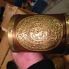 Interesting copper mugs with different Brass Face plates on each Mug.