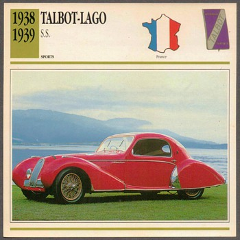 Vintage Car Card - Talbot-Lago S.S. - Classic Cars