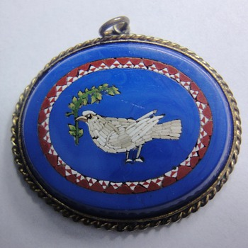 Micro Mosaic oval pendant with dove in blue glass