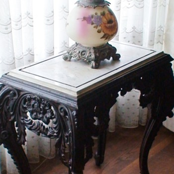 Iron Table Very Heavy With Marble Top 1800s