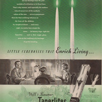 1950 - Will &amp; Baumer Taperlite Candles Advertisement