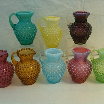 COMPLETE SET OF FENTON HOBNAIL SYRUP JUGS IN THE OPALESCENT COLORS + AMBER