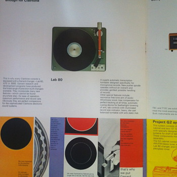 Clairtone booklet for record consoles. - Electronics