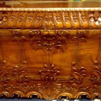 Carved Wood Trunk beautiful and heavy - Furniture